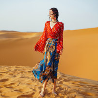 skirt Spring 2021 S,M,L Royal blue skirt, red chiffon top, one set longuette Sweet High waist Irregular Decor Type A 25-29 years old 71% (inclusive) - 80% (inclusive) other polyester fiber Lace up, bandage, print 101g / m ^ 2 (including) - 120g / m ^ 2 (including) Bohemia