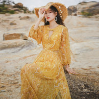 Dress Autumn 2020 yellow S,M,L,XL longuette singleton  Long sleeves Sweet Crew neck High waist Decor Socket Big swing puff sleeve Others 18-24 years old Type A Hollowed out, printed, zipper, bandage 81% (inclusive) - 90% (inclusive) Chiffon other Bohemia