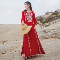 Dress Autumn 2020 gules S,M,L,XL,2XL longuette singleton  three quarter sleeve commute Crew neck Loose waist Solid color Socket Big swing pagoda sleeve Others 25-29 years old Type A ethnic style Embroidery 71% (inclusive) - 80% (inclusive) brocade cotton