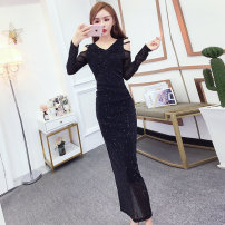 Dress Autumn of 2019 Black Purple S M L XL Mid length dress singleton  Long sleeves commute V-neck High waist Solid color Socket One pace skirt routine Others 25-29 years old T-type Cofigo Korean version More than 95% other polyester fiber Other polyester 95% 5% Pure e-commerce (online only)