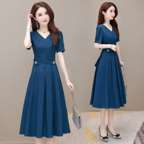 Dress Summer 2021 Mid length dress singleton  Short sleeve commute V-neck High waist Solid color Condom A-line skirt routine Others 35-39 years old Type A Corrpril / Cobell Korean version Lace up button LSS6081 51% (inclusive) - 70% (inclusive) other cotton Pure e-commerce (online sales only)