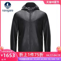 leather clothing Navigare / navikel Youth fashion black S M L XL XXL XXXL have cash less than that is registered in the accounts Leather clothes Hood Straight cylinder zipper winter leisure time youth Sheepskin tide Cloth hem Winter of 2019 Same model in shopping mall (sold online and offline)