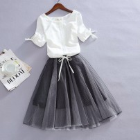 Dress Summer of 2019 S M L XL 2XL 3XL 4XL Middle-skirt Two piece set Short sleeve commute Crew neck middle-waisted Solid color Socket Big swing routine camisole 18-24 years old Type A Crnagoose / Xiangna goose Korean version Stitching bandage gauze zt3VhOmy More than 95% other hemp Flax 100%