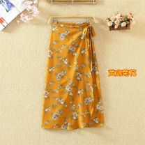skirt Summer of 2018 Average size longuette street High waist Irregular Broken flowers 9129# More than 95% Chiffon Crnagoose / Xiangna goose other Asymmetric printing with tie PU Rock and roll