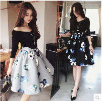 Dress Autumn of 2018 Grey black brown pre-sale M L XL 2XL 3XL 4XL Middle-skirt Fake two pieces elbow sleeve street V-neck High waist Decor Socket other routine Others 18-24 years old Type A Crnagoose / Xiangna goose More than 95% other Other 100% Rock and roll