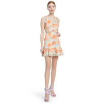 Dress Summer of 2019 Decor 8#(L),10#(XL) Mid length dress Sleeveless V-neck Type A Lace More than 95% polyester fiber