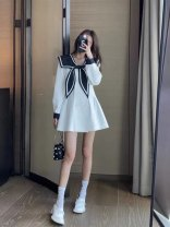 Dress Spring 2021 White, black Average size Short skirt singleton  Long sleeves Sweet Admiral High waist Solid color double-breasted A-line skirt routine 18-24 years old Type A Pocket, button 31% (inclusive) - 50% (inclusive) college