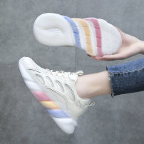 Low top shoes 35 36 37 38 39 40 Leakoar / case White black Round head Mesh Muffin bottom Middle heel (3-5cm) Deep mouth cloth Spring 2021 Frenulum Korean version Adhesive shoes Youth (18-40 years old) Solid color rubber Single shoes Cross tie muffin heel cloth motion Face dressing