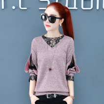 T-shirt M L XL 2XL 3XL Spring 2021 Long sleeves V-neck Straight cylinder Regular bishop sleeve commute polyester fiber 86% (inclusive) -95% (inclusive) 25-29 years old Korean version youth Bright lace Pure e-commerce (online only)