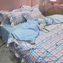 Bedding Set / four piece set / multi piece set Polyester (polyester fiber) Quilting, other Plants and flowers other Other / other Polyester (polyester fiber) 4 pieces other Ice cream lattice, Mary Lulu, Quentin time, strawberry, Zhizhi, green forest, stars, mangmanglulu Bed sheet, bed skirt twill