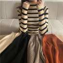 sweater Autumn 2020 Average size Striped apricot brownish red flowered coffee black Long sleeves Socket singleton  Regular polyester fiber 95% and above Half high collar Regular commute routine stripe Straight cylinder Regular wool Keep warm and warm 18-24 years old Mushiti LT9123 * Polyester 100%