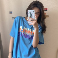 T-shirt Blue white Lavender M L XL Summer 2020 Short sleeve Crew neck easy Regular routine commute polyester fiber 51% (inclusive) - 70% (inclusive) 18-24 years old Korean version youth letter Mushiti CL766* printing Polyester 65% Cotton 30% polyurethane elastic fiber (spandex) 5%