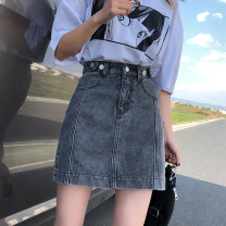 skirt Summer 2020 S M L XL Light blue and dark grey Short skirt commute High waist Pleated skirt Solid color Type A Under 17 LLH429* More than 95% Mushiti other Button Korean version Other 100% Pure e-commerce (online only)