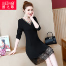Women's large Autumn of 2019 Dress singleton  commute easy moderate Socket Long sleeves Solid color Simplicity V-neck Medium length Polyester others Collage routine The song of nobility 35-39 years old Gauze Medium length Other polyester 95% 5% Pure e-commerce (online only) other