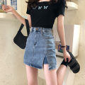 skirt Summer 2020 S,XL,L,M blue Short skirt commute High waist skirt Solid color Type A 18-24 years old 71% (inclusive) - 80% (inclusive) Denim other Korean version
