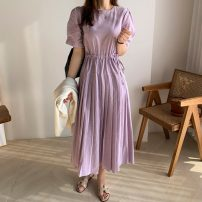 Dress Summer 2021 Khaki, white, violet Average size Mid length dress singleton  Short sleeve commute other Elastic waist other other Pleated skirt routine Others 18-24 years old Type A Weaving Chiffon Korean version Fold, lace, bow 81% (inclusive) - 90% (inclusive) other other