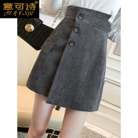 skirt Winter 2020 S M L XL Grey green black coffee apricot Mid length dress commute High waist Solid color 25-29 years old YKS53903 More than 95% Meaning can be poetry other pocket Korean version Other 100% Pure e-commerce (online only)