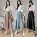 Casual pants Pink black blue S M L XL Summer 2020 Cropped Trousers Wide leg pants Natural waist commute Thin money 18-24 years old Rili Korean version bow Polyester 100% Pure e-commerce (online only) Asymmetry