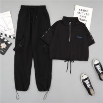 Casual pants 6666 / white top 6666 / black top bin / 8323 / black pants 6666 / white top + bin 8323 / black pants [one set] 6666 / Black Top + bin 8323 / black pants [one set] S M L XL XXL Summer 2020 Ninth pants Overalls High waist commute routine 18-24 years old 91% (inclusive) - 95% (inclusive)
