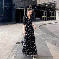 Dress Chiffon Summer 2021 longuette Short sleeve singleton  commute Dot V-neck High waist Single breasted Petal sleeve Big swing 71% (inclusive) - 80% (inclusive) Type X ac0710 S,M,L,XL,2XL,3XL Black dot, white dot
