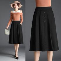 skirt Spring 2020 M: waist 2 feet, l: waist 2 feet 1, XL: waist 2 feet 2, 2XL: waist 2 feet 3, 3XL: waist 2 feet 4, 4XL: waist 2 feet 5, 5XL: waist 2 feet 6 black Middle-skirt Versatile High waist High waist skirt Solid color N9826 Button, pocket