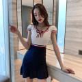 Dress Summer 2021 blue S,M,L,XL Short skirt singleton  Short sleeve commute Crew neck High waist Solid color zipper Other / other