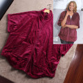 Pajama Top female Other / other S-M, l-xl claret Middle sleeve Simplicity middle age Leisure home spring routine stand collar Solid color zipper D189 other More than 95% Coral velvet fabric
