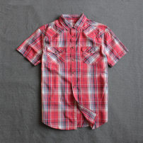shirt other Others M, l, XL, XXL gules routine Pointed collar (regular) Short sleeve easy Other leisure summer M219-C1 Cotton 100% Simplicity in Europe and America 2017 lattice Plaid washing cotton More than 95%