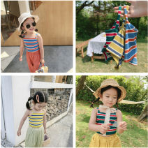 Vest sling Yellow, green, blue I-shaped 7 (90cm), 9 (100cm), 11 (110cm), 13 (120cm), 15 (130cm) summer Maidou story female There are models in the real shooting Korean version stripe One word collar nothing Pure cotton (95% and above) TYKJCP1596518 Class B 2, 3, 4, 5, 6, 7, 8, 9, 10 years old