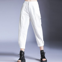 Casual pants Black, white Average size Summer 2020 Ninth pants Wide leg pants Natural waist street routine XY3891 Honey management cotton cotton Europe and America