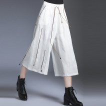Casual pants Black, white M,L,XL Spring 2020 Wide leg pants Natural waist street routine 51% (inclusive) - 70% (inclusive) XY3810 Honey management hemp belt hemp Europe and America