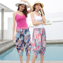 Casual pants S,M,L,XL,2XL,3XL Summer of 2019 Cropped Trousers Wide leg pants High waist Versatile Thin money 18-24 years old 91% (inclusive) - 95% (inclusive) JSQF Other / other printing and dyeing cotton Asymmetry
