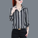 shirt White Stripe Black Stripe M L XL 2XL 3XL 4XL Spring 2021 polyester fiber 96% and above Nine point sleeve commute Regular Polo collar Socket routine stripe 35-39 years old Straight cylinder Sophia Korean version Y 686 Button Polyester 100% Pure e-commerce (online only)