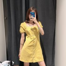 Dress Summer 2020 yellow S,M,L Mid length dress singleton  Short sleeve commute square neck middle-waisted Solid color Single breasted A-line skirt puff sleeve Type A Retro 31% (inclusive) - 50% (inclusive) Denim cotton