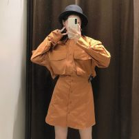 Dress Autumn 2020 havana  XS,S,M,L Short skirt singleton  Long sleeves commute Polo collar High waist Solid color Single breasted A-line skirt routine 18-24 years old Type A Retro 31% (inclusive) - 50% (inclusive) Poplin