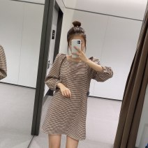 Dress Autumn 2020 Graph color XS,S,M,L Mid length dress singleton  Long sleeves commute One word collar Loose waist lattice Socket A-line skirt bishop sleeve 18-24 years old Type A Retro 31% (inclusive) - 50% (inclusive) cotton
