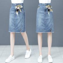 skirt Spring 2021 26/S 27/M 28/L 29/XL 30/XXL 31/XXXL blue longuette commute High waist A-line skirt Solid color Type A QG1302XRR 51% (inclusive) - 70% (inclusive) Denim Shallow purchase cotton pocket Korean version Cotton 59.3% polyester 23.7% viscose 16.4% polyurethane elastic 0.6%