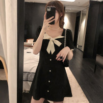 Women's large Summer 2020 black L XL S M Dress singleton  commute thin Conjoined Short sleeve Solid color Korean version square neck Medium length other routine LK142 Ru Shu 18-24 years old Button Medium length Other 100% Pure e-commerce (online only) other bow