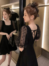 Dress Summer 2020 black S M L XL Mid length dress singleton  Short sleeve commute square neck High waist Solid color Socket A-line skirt puff sleeve Others 18-24 years old Type A Ru Shu Korean version Open back lace up zipper Jt6VR3 More than 95% other Other 100% Pure e-commerce (online only)
