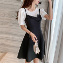 Women's large Summer 2020 L XL S M Dress Two piece set commute easy thin Socket Short sleeve Solid color Korean version Crew neck Medium length other Three dimensional cutting puff sleeve Ru Shu 18-24 years old Three dimensional decoration 96% and above Short skirt Other 100% other