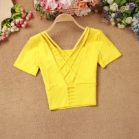 T-shirt Yellow, red, white, black Average size Summer 2020 Short sleeve Crew neck Self cultivation Super short routine commute other 51% (inclusive) - 70% (inclusive) Korean version Stitching, hollowing out, open back