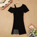 Dress Summer 2020 Black, red Average size Short skirt singleton  Short sleeve commute Slant collar High waist Solid color Socket routine Korean version