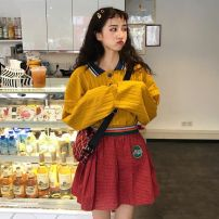 Sweater / sweater Autumn of 2018 Yellow blue Average size Long sleeves Socket routine singleton  routine Polo collar easy commute routine stripe 18-24 years old Retro Three buttons