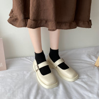 Low top shoes 35 36 37 38 39 Jentina BEIGE BLACK upgrade Beige upgrade black Square head PU Square heel Low heel (1-3cm) Shallow mouth cloth Summer 2021 Flat buckle solar system Adhesive shoes Youth (18-40 years old) Solid color rubber Single shoes Buckle waterproof platform cloth leisure time
