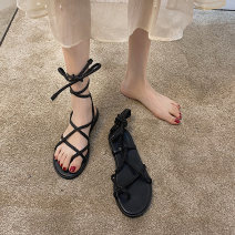Sandals 35 36 37 38 39 Khaki black upgrade Khaki upgrade black PU Jentina Pinch toe Flat bottom Low heel (1-3cm) Spring 2021 Frenulum Korean version Solid color Adhesive shoes Youth (18-40 years old) rubber daily Rear trip strap Waterproof platform foot ring strap Low Gang Lateral space PU PU