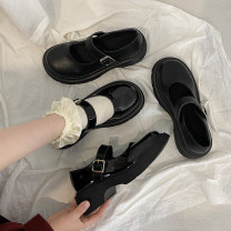 Low top shoes 35 36 37 38 39 Jentina Bright matte bright upgrade matte upgrade Round head PU Square heel Middle heel (3-5cm) Shallow mouth cloth Spring 2021 Flat buckle solar system Adhesive shoes Youth (18-40 years old) Solid color rubber Single shoes Shallow buckle waterproof platform cloth