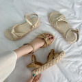 Sandals 35 36 37 38 39 40 Off white apricot off white upgrade apricot upgrade PU Jentina Barefoot Flat bottom Low heel (1-3cm) Summer 2021 Flat buckle Korean version Solid color Adhesive shoes Youth (18-40 years old) rubber daily Front and rear trip strap The Roman style of the platform Low Gang PU