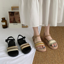 Sandals 35 36 37 38 39 40 Apricot black upgrade apricot upgrade black Suede Jentina Barefoot Flat heel Low heel (1-3cm) Summer 2021 Flat buckle Korean version Color matching Adhesive shoes Youth (18-40 years old) rubber daily Rear trip strap Buckle waterproof platform Low Gang Lateral space PU PU