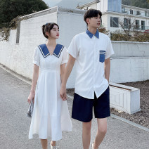 Dress Summer 2021 White dress, white shirt, black shorts S,M,L,XL,2XL,3XL longuette singleton  Short sleeve commute square neck Solid color Big swing routine 18-24 years old printing 612# 81% (inclusive) - 90% (inclusive) cotton