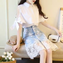 Dress Summer 2020 S,M,L,XL Middle-skirt Two piece set elbow sleeve Sweet Polo collar High waist Solid color Single breasted other Lotus leaf sleeve Others 18-24 years old Type H Other / other Lotus leaf edge 30% and below Chiffon polyester fiber